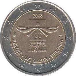 """2€ Bélgica 2008 """"Aniversario Derechos Humanos"""""""