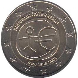 """2€ Austria 2009 """"Aniversario Unión Económica y Monetaria"""""""